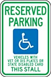 Accuform FRA215RA Engineer-Grade Reflective Aluminum Handicapped Parking Sign (Wisconsin), Legend ''RESERVED PARKING VEHICLES WITH VET OR DIS PLATES OR STATE DISABLED CARD THIS STALL'' with Graphic, 18'' Length x 12'' Width x 0.080'' Thickness, Green/Blue on W