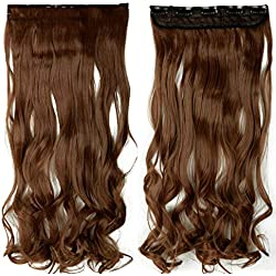 "18-28"" Curly 3/4 Full Head Clip In Hair Extensions Black Brown Blonde Real Natural Synthetic One Piece For Human #6 24inches"