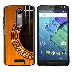 LECELL--Funda protectora / Cubierta / Piel For Motorola MOTO X3 3rd -- guitarra instrumento música marrón dorado --