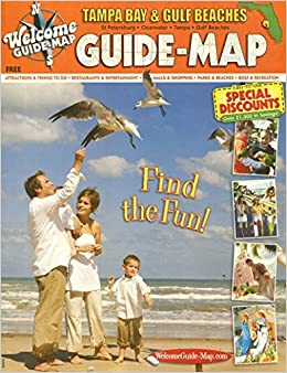 TAMPA BAY & GULF BEACHES GUIDE-MAP /FLORIDA /HUGE ILLUSTRATED ...