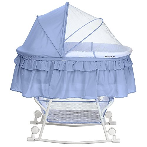 Lowest Price! Dream On Me Lacy Portable 2 in 1 Bassinet and Cradle, Serenity