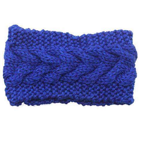 MOPOLIS Ladies Women Crochet Headband Knit Flower Hairband Ear Warmer Winter Head Wrap | Main Colour - Blue