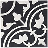Moroccan Mosaic & Tile House CTP33-02 Casa 8''x8'' Handmade Cement Tile (Pack of 12), Blackwhite