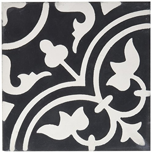 Moroccan Mosaic & Tile House CTP33-02 Casa 8''x8'' Handmade Cement Black and White (Pack of 12), Blackwhite - Outdoor Ceramic Tiles