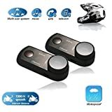 2 Set Helmet Intercom, EIEAS E2 1300m Water Resistant Bluetooth Motorcycle Motorbike Helmet Interphone Headset Support Up to 4 Rider for MP3 player GPS - Hands Free Up to 10 Hours Talk Time
