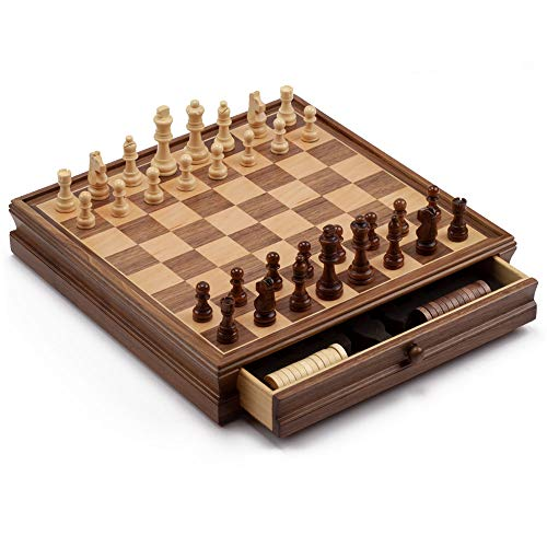 15-Inches Large Wooden Chess and Checkers Board Game Combo Set with Storage Drawer