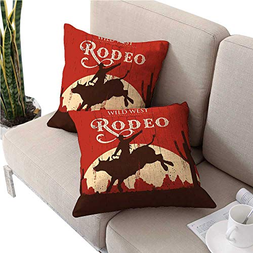 warmfamily VintageSquare Euro Sham Cushion CoverRodeo Cowboy Riding Bull Wooden Old Sign Western Wilderness at Sunset Imagecute Cushion Covers 20