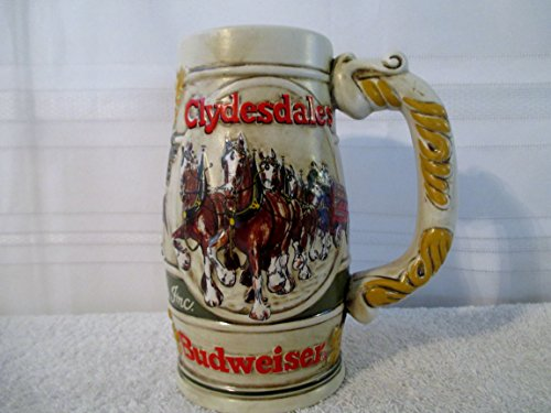 (1983 Budweiser Holiday Clydesdales Pulling Anheuser Busch Beer Wagon from Ceramarte and Made in)