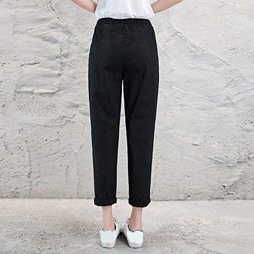 De Casual Dame Tendance Cordon Élastique Loisir Droit Serrage Ete Pantalon Slim Pants Femme Elégante Ceinture Mode Longues Battercake Noir Fit WB8pq7U4