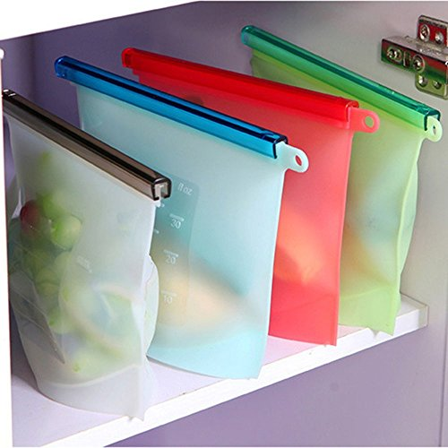 House of Quirk 4pc Reusable Silicone Food Preservation Bag Gallon – Zip Sealed Storage Container (size-20x17x15cm – capacity-1000 ML))