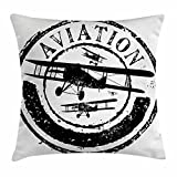 vintage aviation decor - Vintage Airplane Decor Throw Pillow Cushion Cover by Ambesonne, Grunge Stamp Design with Word Aviation and Airplane Silhouettes, Decorative Square Accent Pillow Case, 18 X 18 Inches, Black and White