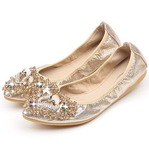 FLYRCX Moda Rhinestone Moldeado Suave y cómodo señaló Zapatos Planos Solos Zapatos de Las Mujeres Embarazadas Zapatos de Baile, 36 UE 34 EU