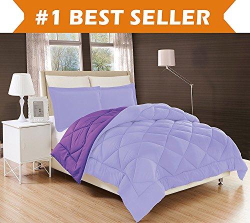 Elegant Comfort All Season Comforter and Year Round Medium Weight Super Soft Down Alternative Reversible 3-Piece Comforter Set, Full/Queen, Lavender/Purple (Elegant Comforter Sets)
