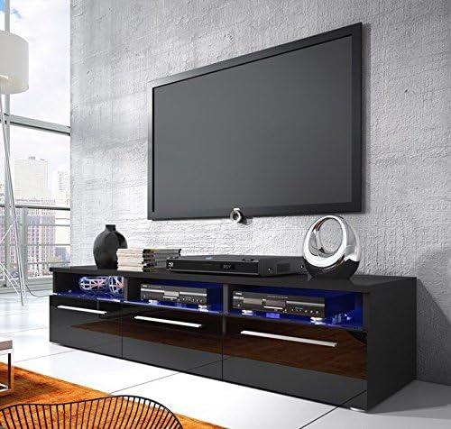 Lire et mobilier meuble TV modèle Dakar NOIR avec led (1,5 m ...