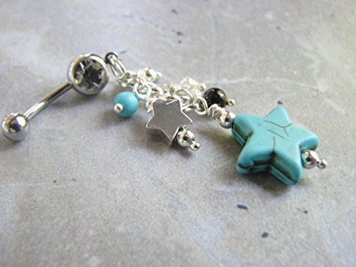 Star Belly Button Ring with Beaded Silver and Turquoise Star Dangles, Long Belly Rings