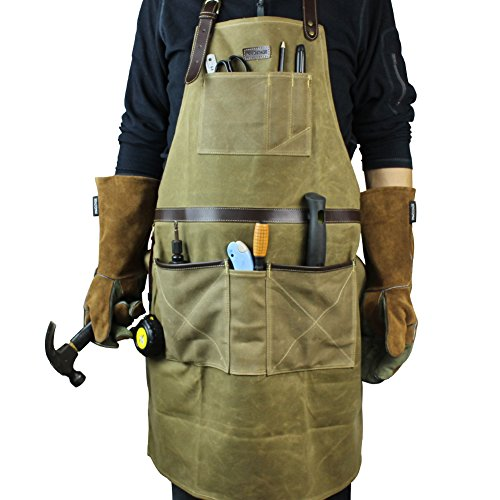 INNO STAGE Tools Apron,Waxed Canvas Work Bib Aprons with Pockets,Full Coverage Utility Apron,Hand Tool Organizers,Gardening Carpentry Lawn Care Accessories for Women and Men by INNO STAGE (Image #2)