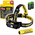 Nitecore HC90 900 Lumen CREE XM-L2 T6 LED USB rechargeable headlamp with Genuine Nitecore NL189 18650 3400mAh Li-ion rechargeable battery, Two EdisonBright CR123A Lithium Batteries