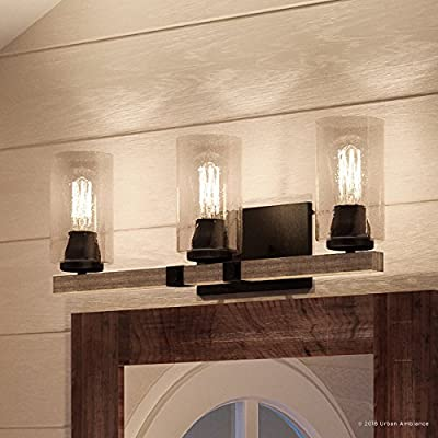 "Luxury Vintage Bathroom Vanity Light, Large Size: 8""H x 24""W, with Modern Farmhouse Style Elements, Olde Bronze Finish, UHP2081 from the Darlington Collection by Urban Ambiance"