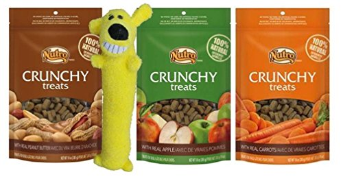 Nutro All Natural Crunchy Training Treats For Dogs 3 Flavor Variety with Toy Bundle: (1) Treats w/Real Peanut Butter, (1) Treats w/Real Carrots, and (1) Treats w/Real Apple, 10 Oz Ea (3 Bags, 1 Toy)