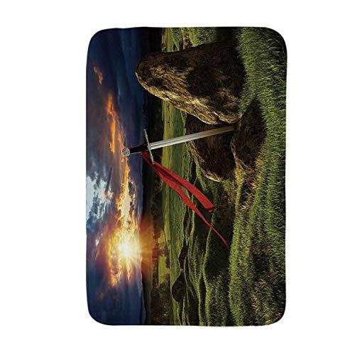 YOLIYANA King Soft Door Mat,Arthur Camelot Legend Myth in England Ireland Fields Invincible Sword Image for Living Room,17.7