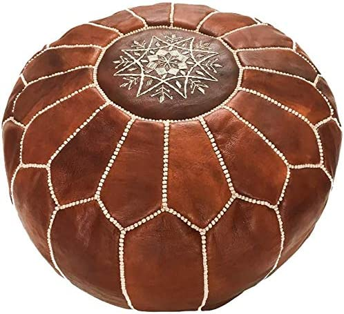 PRASTARA Moroccan Pouf Genuine Leather Living Room Decor Hassock Ottoman Footstool Round Large Ottoman Pouf