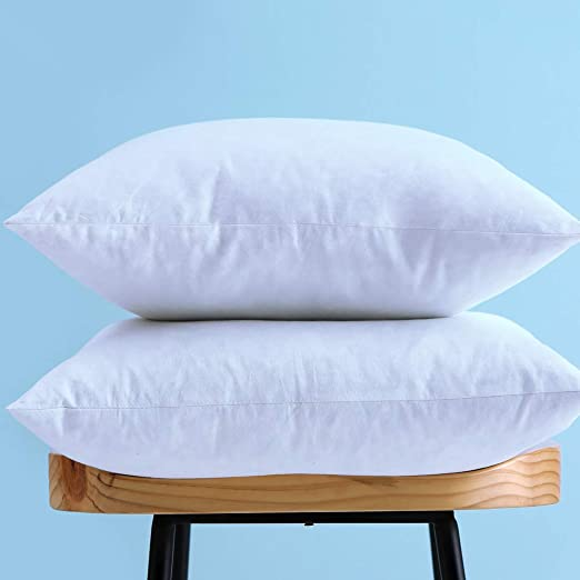 Cotton Fabric Throw Pillows Insert Down and Feather Pillow Inserts... Set of 2