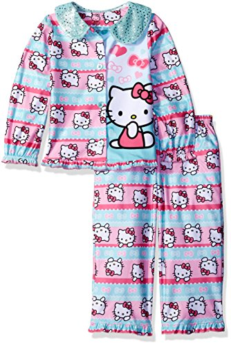 Hello Kitty Little Girls' Toddler Flannel Coat Style Pajamas, Multi, 2T by Hello Kitty