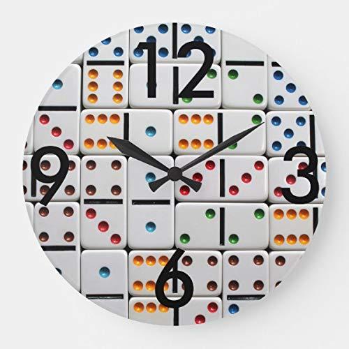 PotteLove Dominoes Clock Wooden Decorative Round Wall - Quartz Dominoes
