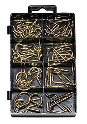 """Cup Hook Assortment Kit, for Cups, Ceiling, Mobiles, Wind Chimes, Lanterns and More, Cup Hook 3/8"""" - 6/8"""", Square Hooks 1/2"""" - 1"""", (90 Pieces)."""