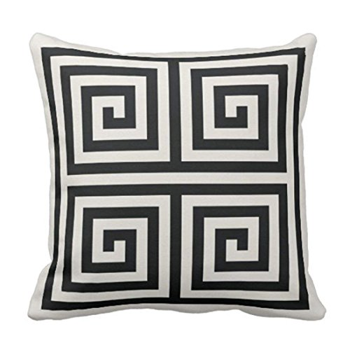 Emvency Throw Pillow Cover Cute Bold Chic Black and White Greek Key Geometric Stripes Modern Decorative Pillow Case Home Decor Square 20 x 20 Inch - Black Key Greek