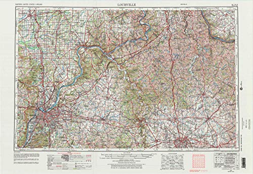 (YellowMaps Louisville KY topo map, 1:250000 Scale, 1 X 2 Degree, Historical, 1956, Updated 1976, 22.1 x 32.2 in - Paper)