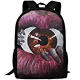 Markui Adult Travel Hiking Laptop Backpack Art Mouth Eye School Multipurpose Durable Daypacks Zipper Bags Fashion
