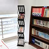 Peach Tree Brochure Display Stand Magazine Display Rack Literature Holder Floor Standing Pop-up Folding Metal Black 6 Pockets for Trade Show, Office Display, Library