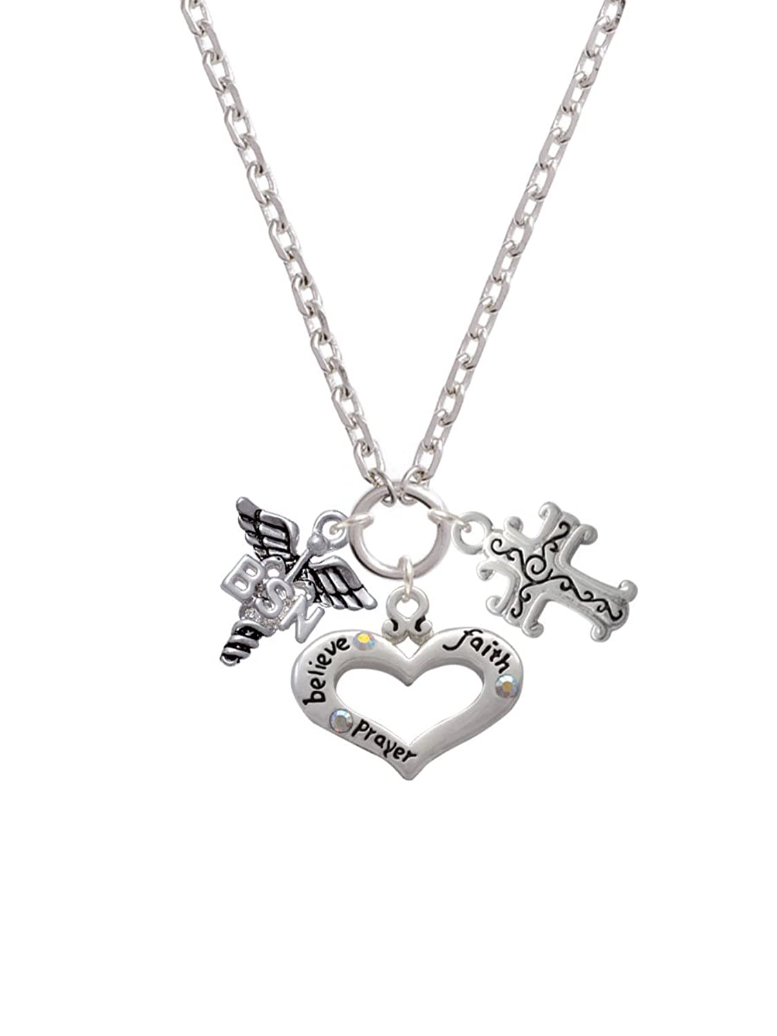 4575704b50c Nurse Caduceus Believe Faith Prayer Heart and Scroll Cross Zoe Necklace hot  sale