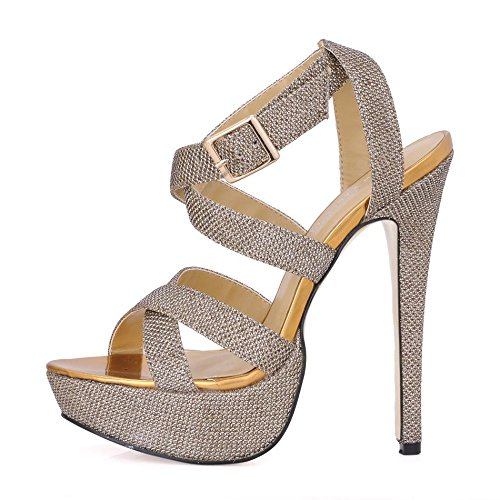 Stiletto Peep 14CM Autumn Best Toe Glitter Golden Women's 4U Rubber Heels High Shoes Heel Sole Spring BIIvy8qO
