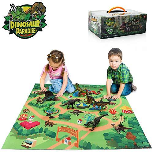 TOMETC Dinosaur Toys Set 14 Pcs Dinosaur Figures Activity Play Mat & Trees Create A Dino World Educational Realistic Boys Dinosaur Toys Figures Playset Best Gifts for Kids Boys & Girls