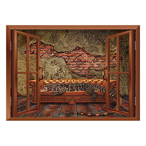 Ncaa Sofa - SCOCICI Creative Window View Home Decor/Wall Décor-Fantasy Decor,Decadence Grunge Ruin Brick Wall and a Giant Lizard on Sofa Surreal Art,Vermilion Umber/Wall Sticker Mural
