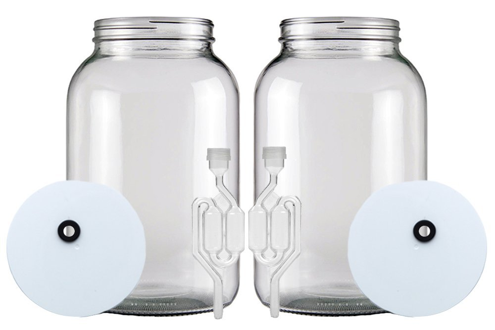 Home Brew Ohio One gallon Wide Mouth Jar with Drilled Lid & Twin Bubble Airlock-Set of 2 by Home Brew Ohio (Image #2)