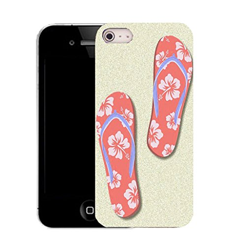 Mobile Case Mate IPhone 4s clip on Silicone Coque couverture case cover Pare-chocs + STYLET - salmon flip flop pattern (SILICON)