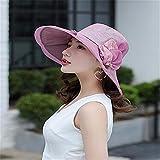 RangYR Women Hat Summer Fall Sun Hat Collapsible Sun Hat Outdoor Sunscreen Face Wide-Brimmed Hat Purple