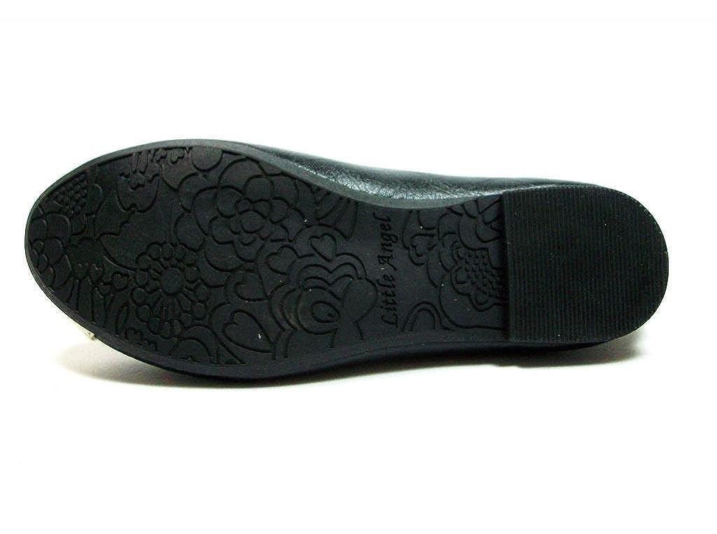 New Little Toddler Girls Black Leatherette Slip on Flats feat Gold Cap Toe