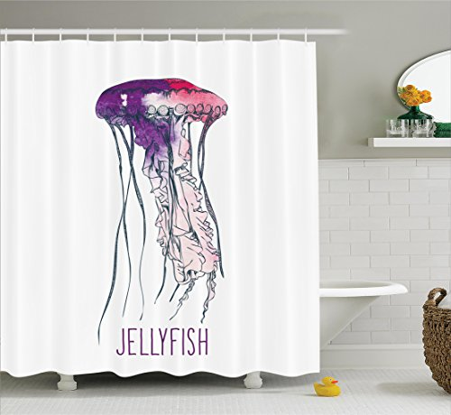 Sport Jelly Digital 5 (Jellyfish Shower Curtain Set by Ambesonne, Pink and Purple Jelly Fish Huge Pattern Watercolor Effect Exotic Vacation Oceanic Animal Theme Decorative Art, Fabric Bathroom Decor with Hooks, Purple Pink)