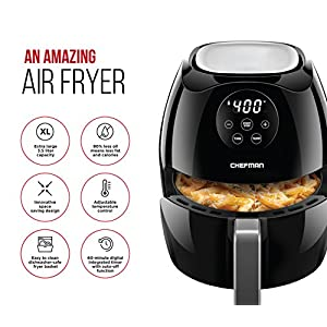 Chefman Digital 3.6 Quart Touch Screen Air Fryer Oven w/ Space Saving Flat Basket, Healthy Oil-Free Airfryer w/ 60 Minute Timer & Auto Shutoff, Dishwasher Safe Parts, BPA-Free, Black
