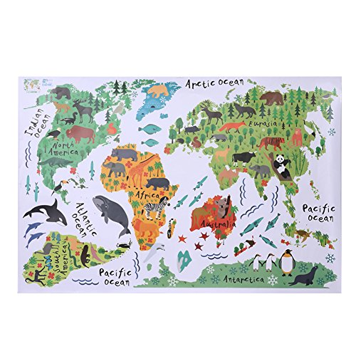 Winnereco removable animal world map wall stickers home bedroom winnereco removable animal world map wall stickers home bedroom background wall decor buy online in uae kitchen products in the uae see prices gumiabroncs Gallery