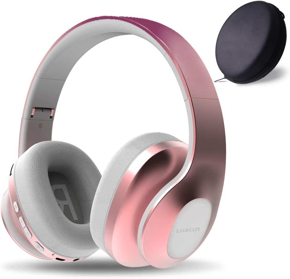 LOBKIN Bluetooth Headphones Over Ear, Hi-Fi Stereo Wireless Headset, On-Ear Headphones, Foldable, Soft Memory-Protein Earmuffs, w/Built-in Mic Wired Mode PC/Cell Phones/TV (Rose Gold)