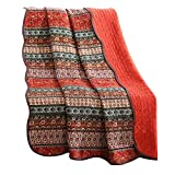 mixinni Boho Style Southwest Bedding Stripe Red Quilted Throw Blanket 100% Cotton Reversible Light Weight Air-conditioning,All Season Sofa/Bedding/Couch Soft Blanket