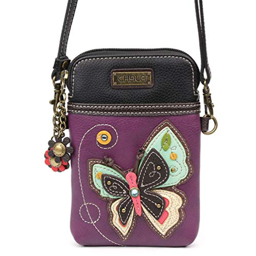 Chala Crossbody Cell Phone Purse - Women PU Leather Multicolor Handbag with Adjustable Strap (New Butterfly Purple)