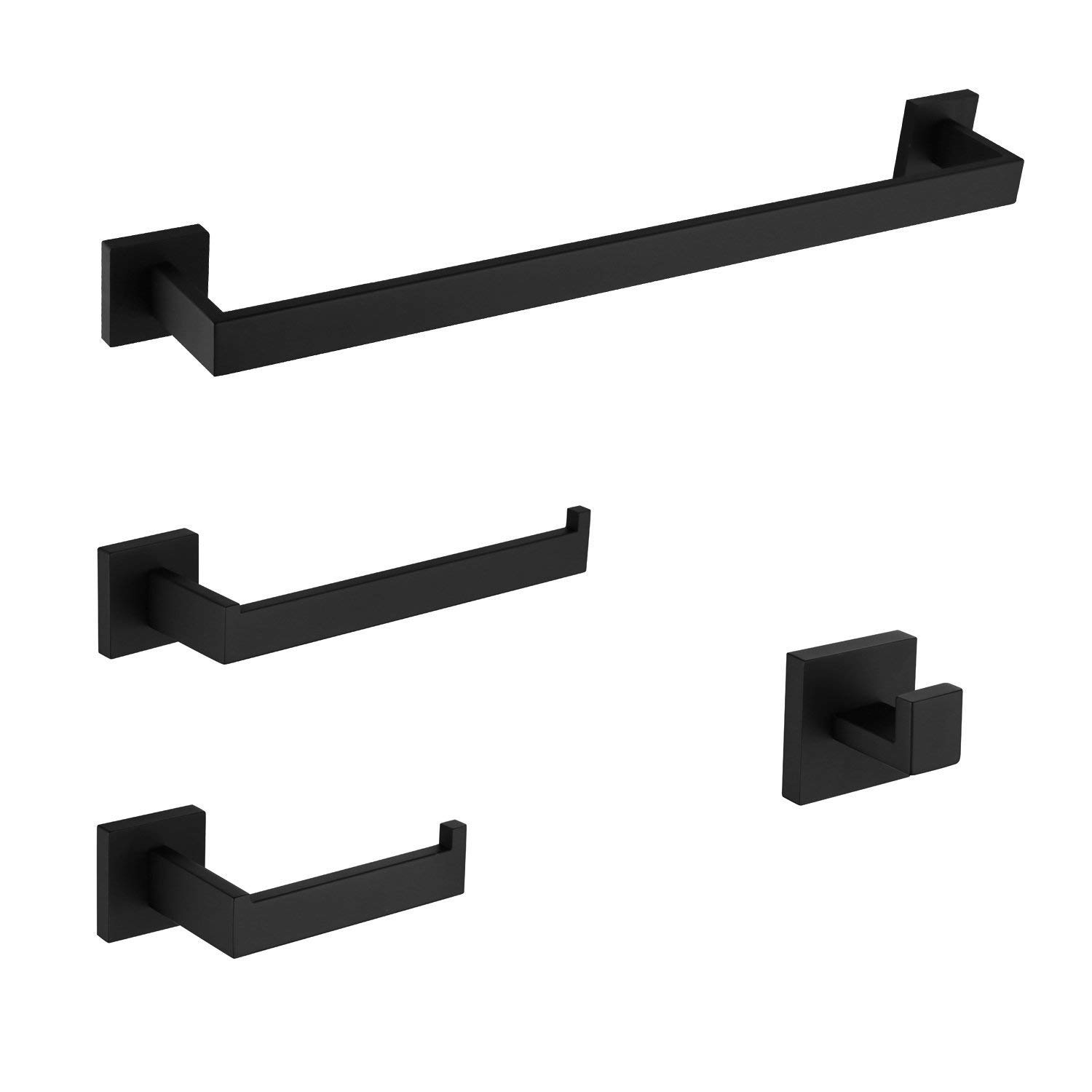 LuckIn Bathroom Hardware Set Stainless Steel, 4-Pieces Bath Towel Bar Set Wall Mounted, Towel Bar Toilet Paper Holder Towel Ring Robe Hook, Black by LuckIn