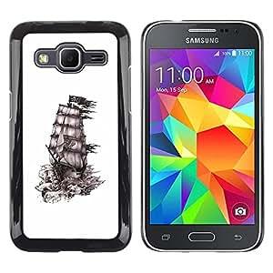 Caucho caso de Shell duro de la cubierta de accesorios de protección BY RAYDREAMMM - Samsung Galaxy Core Prime SM-G360 - Pirate Caribbean Sails Drawing