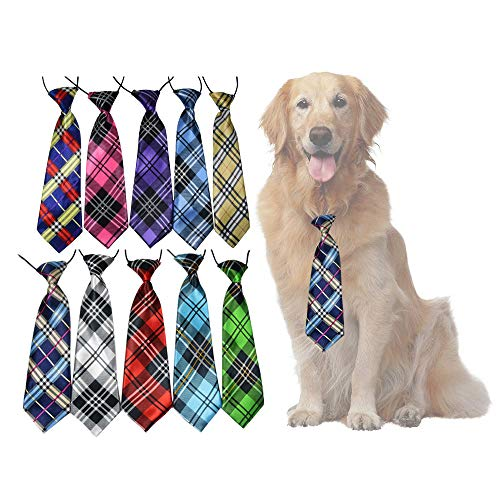 yagopet 10pcs/Pack Big Ties Plaid Patterns Large Dog Ties Dog Large Neckties 22inches Bow Ties Cat Dog Ties for Holiday Festival Dog Collar Dog Grooming ()